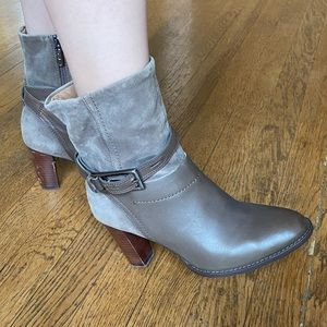 Clark's Gray and Brown Ankle Boots